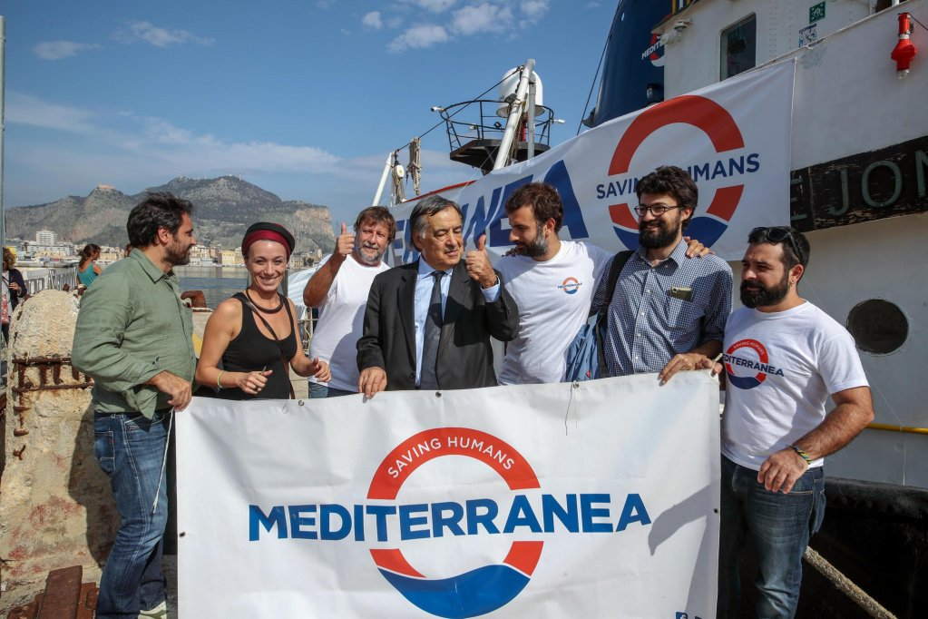 "Palermo Mayor Leoluca Orlando during a press conference on October 16 organized by the Mediterranea project on the ship ""Mare Jonio"". The vessel docked in Palermo after a mission in which it had sailed from Augusta on October 3 to monitor the Strait of Sicily, which is used as a passage by migrant boats. ANSA/IGOR PETYX"