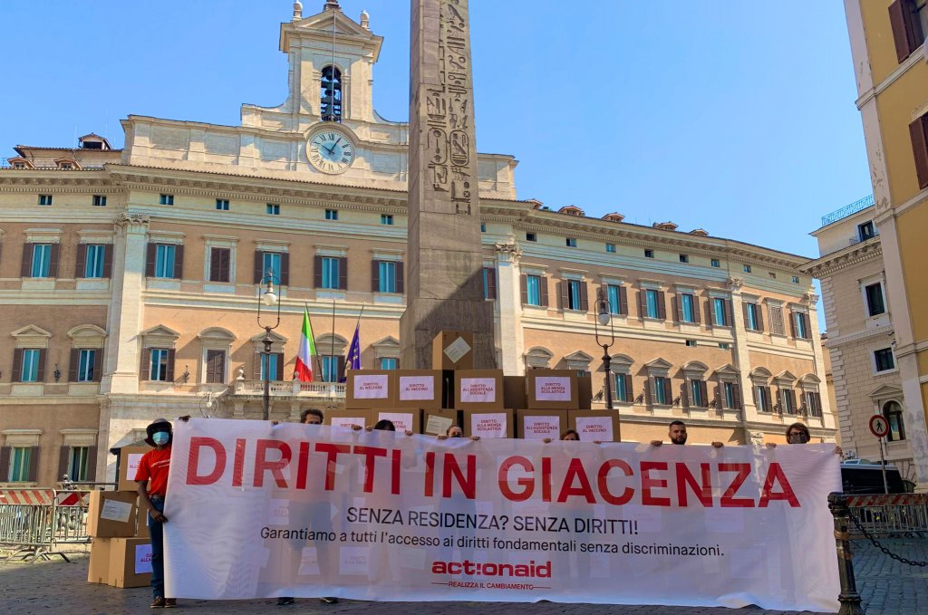 ActionAid launched their campaign #DirittiInGiacenza with a protest in Rome | Photo: @ActionAidItalia on Twitter