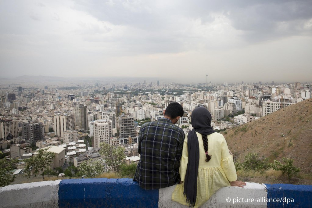 From file: An Iranian couple enjoy the view at Bame Tehran (Roof of Tehran) in the Northern part of Tehran, Iran on May 20, 2019   Photo: Picture-alliance