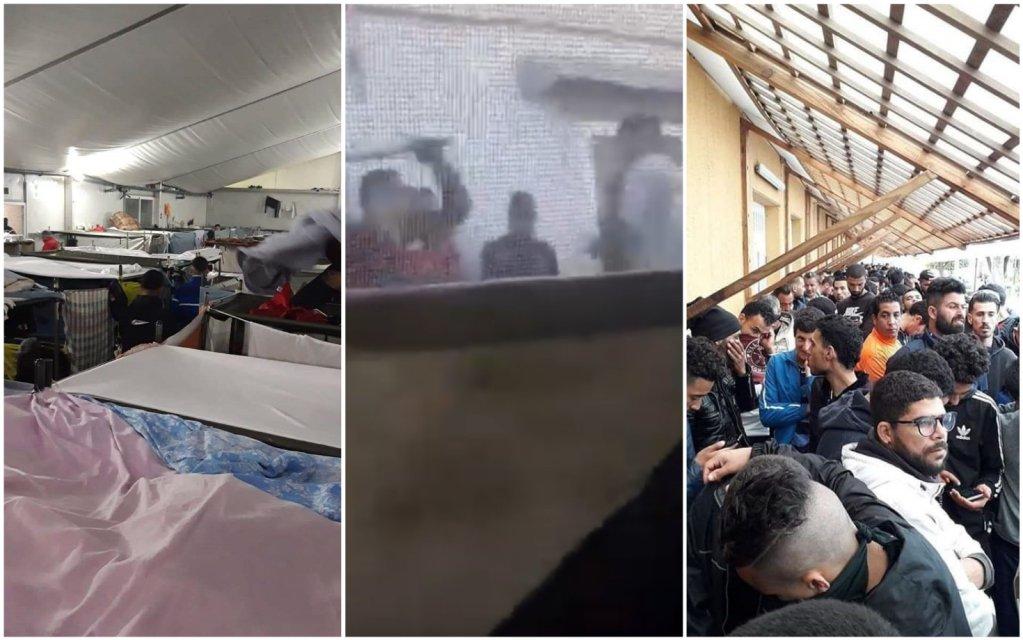 De gauche à droite : les dortoirs surpeuplés du CETI de Melilla, en pleine pandémie de Covid-19 / Un migrant se fait agresser par un agent du centre / Les longues queues pour la nourriture, sans mesures sanitaires. Images de notre Observateur.