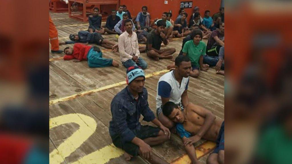 Des migrants bangladais, marocains, égyptiens et soudanais se trouvent à bord du Maridive 601 depuis le 31 mai 2019. Crédits : capture écran FTDES / facebook