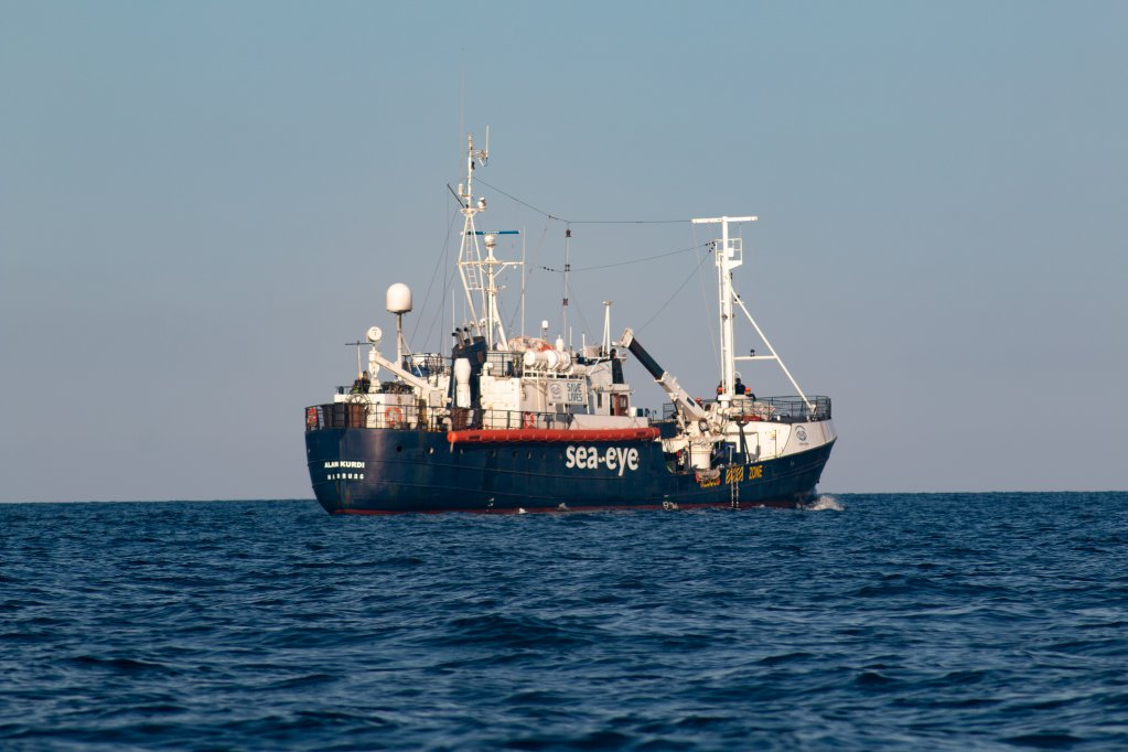 The Alan Kurdi is operated by Sea-Eye, the crew on board say after a lack of response from EU countries they have no choice but to set sail for France in order to avoid a standoff in Italy   Photo: Joris Grahl / Sea-Eye