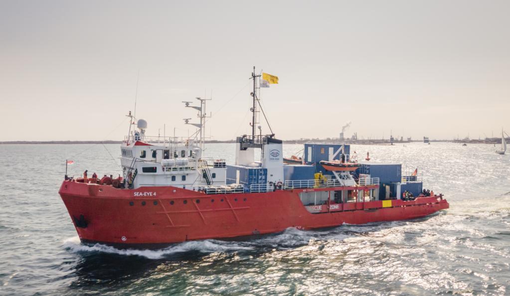 Le Sea-Eye 4 est un nouveau navire de sauvetage allemand. Il effectuera sa première mission fin avril 2021. Crédit : @J_Pahlke