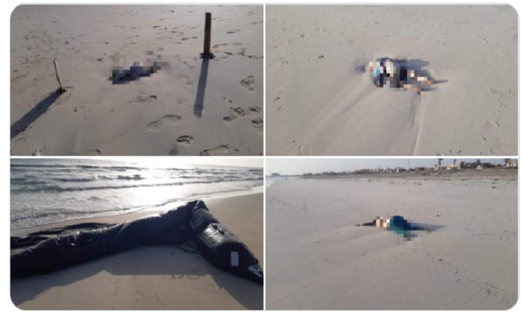صورة ملتقطة من حساب الصحفية الإيطالية التي نشرت صور جثث المهاجرين على شاطئ زوارة غرب طرابلس. Twitter @nancyporsia