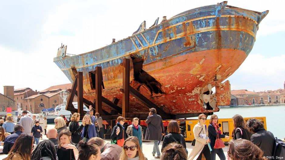 Art or a grave? More than 700 people lost their lives inside the hull of this fishing boat | PHOTO: DW/S.Dege