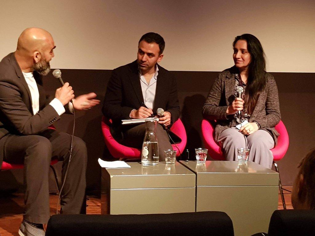 عکس ارسالی شکیلا ابراهیم خیل: گفت و گو در مورد شرایط زندگی زنان و خبرنگاران افغان، در حاشیه نمایش  مستند «رویارویی با اژدها» در هالند