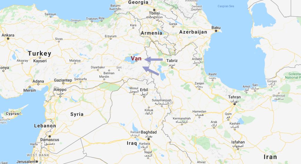 La région de Van, en Turquie, est un point de passage des migrants venus d'Iran, d'Afghanistan et du Pakistan. Crédit : Google Maps