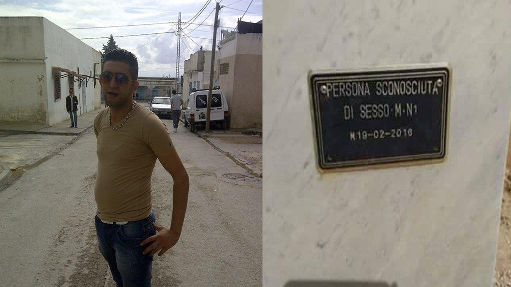 """À gauche, Atef Jebali prenant la pause en octobre 2014, à droite, sa tombe en Italie sur laquelle onpeut lire : """"personne inconnue de sexe masculin""""."""
