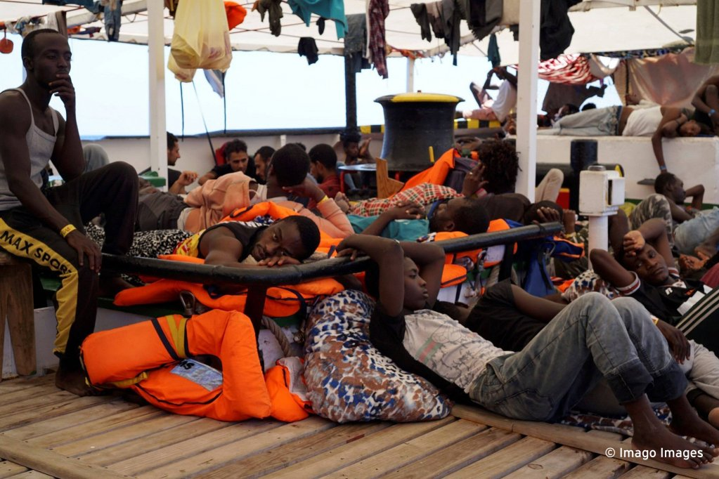 Des migrants à bord de l'Open Arms. Photo : Imago Images.