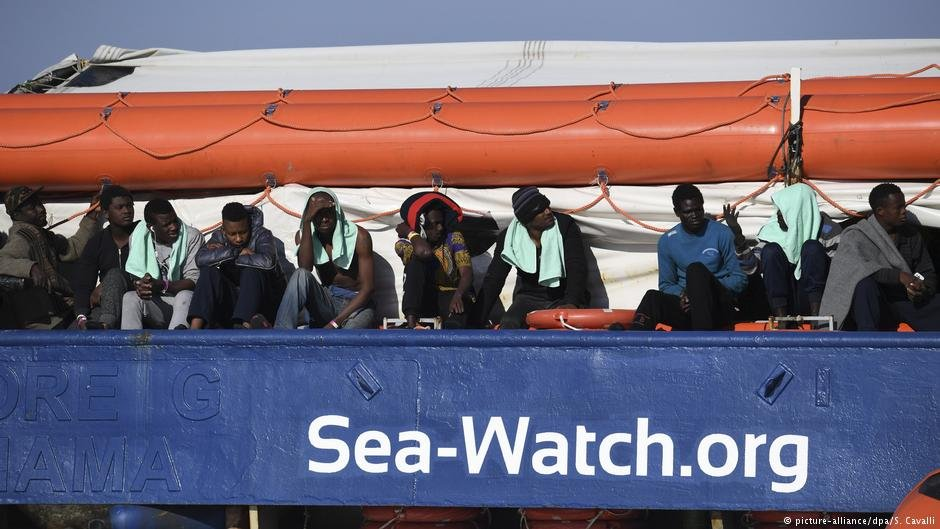 Migrants on the Sea Watch 3 vessel
