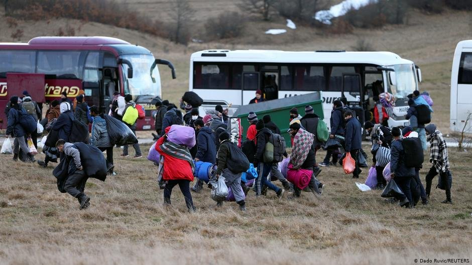 Migrants seen walking towards the forest after the Lipa camp in Bosnia closed in late 2020 | Photo: Dado Ruvic/REUTERS
