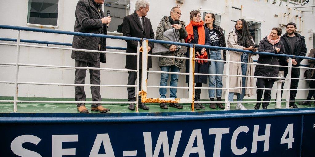 Le Sea Watch 4 a été baptisé le 20 février à Kiel en Allemagne. Crédit : Sea-Watch