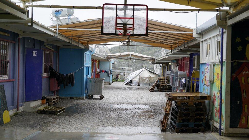 La zone du camp de la Moria réservée aux mineurs non accompagnés. Crédit : Claire Paccalin, janvier 2019.