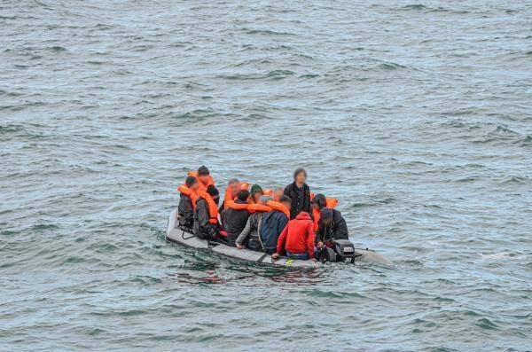 An intercepted migrant vessel in the English Channel, on March 16, 2020. Photo: SNSM de Calais et Marine nationale