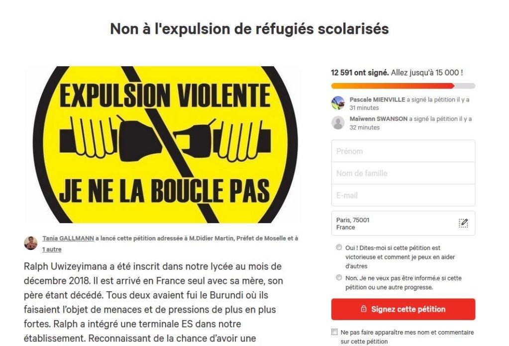 change.org |Capture d'écran de la pétition lancée en faveur de Ralph Uwizeyimana.