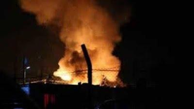 صورة ملتقطة من فيديو  حريق مخيم الهول/وسائل التواصل الاجتماعي