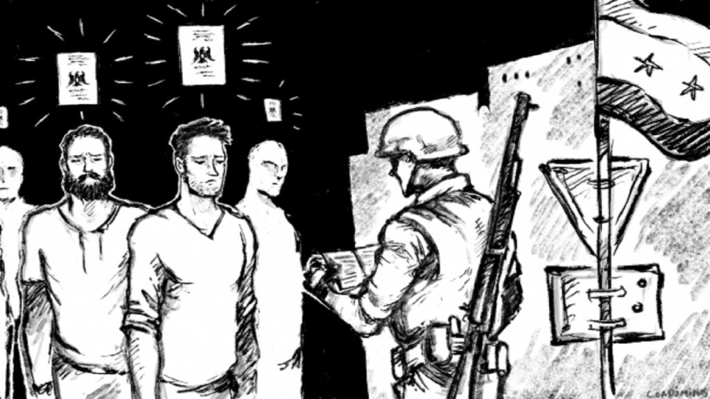 سوريون خائفون من العودة إلى بلدهم. رسم: باتيست كوندوميناسس / مهاجرنيوز