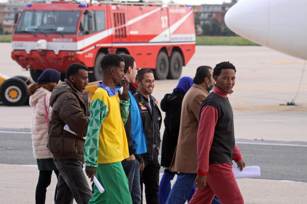 Eritrean refugees departing from the Ciampino airport in Italy | Photo: ANSA/Telenews