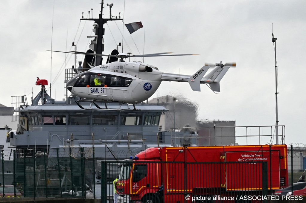 From file: A French rescue helicopter lands close to a rescue vessel in Dunkirk, northern France, | Photo: AP Photo
