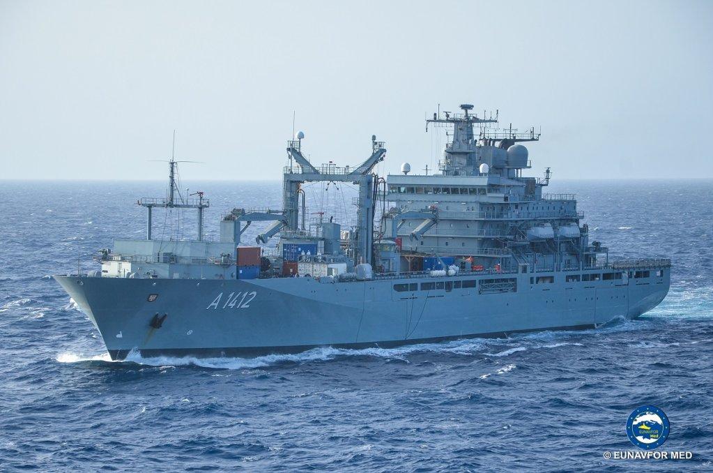 Une des frégates de la flotte de la mission Sophia. Crédit : UENAVFOR MED / Flickr