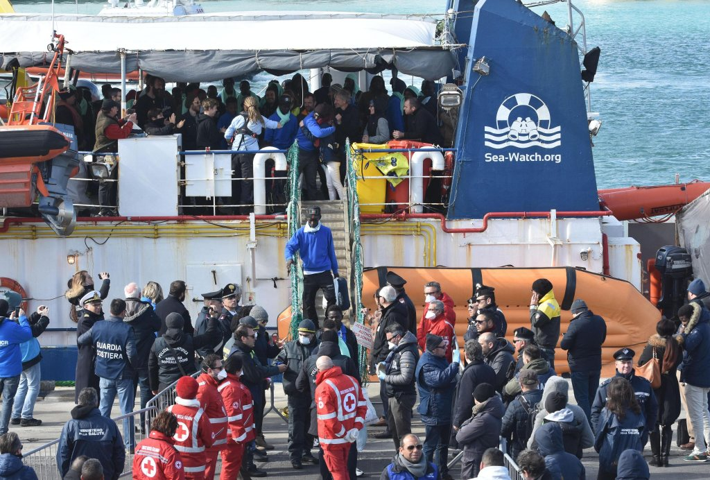 Migrants disembarking in the port of Catania, Italy from the Sea-Watch 3 search-and-rescue ship, which was carrying 47 asylum seekers. PHOTO/ARCHIVE/ANSA/ORIETTA SCARDINO