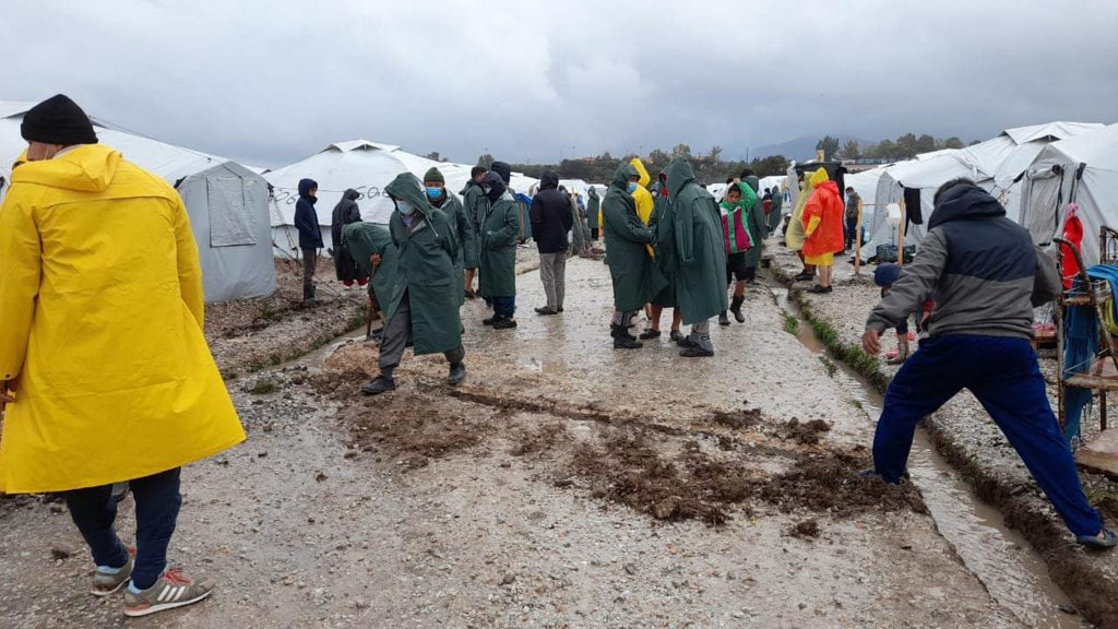 Large areas of the Kara Tepe camp in Lesbos are a sea of dirty water and mud | Credit: NGO Aegean Boat Report
