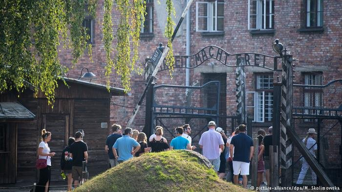 Young members of Germany's Jewish and Muslim communities visiting Auschwitz