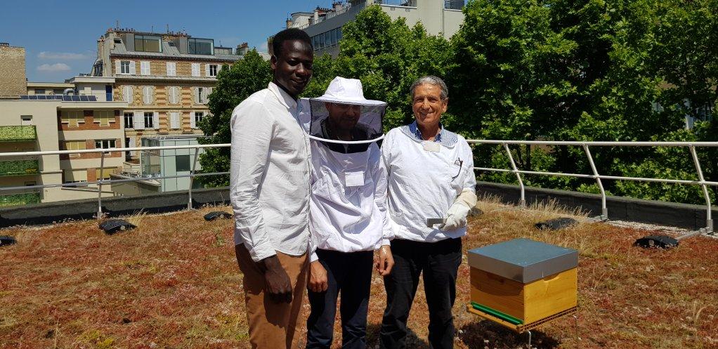Abdelhaq, un apprenti-apiculteur (gauche) avec un autre élève et leur enseignant, Ibrahim Karout, lui-même réfugié syrien. Crédit : Anne-Diandra Louarn / InfoMigrants