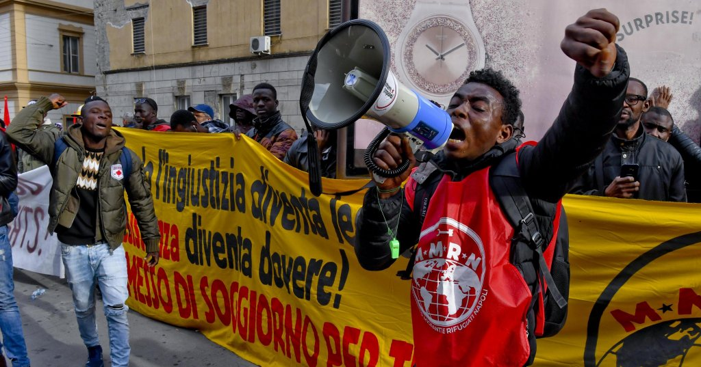 A protest in support of migrant rights in Italy, December 2018 | Photo: ANSA / Ciro Fusco