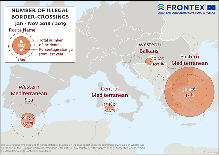 A graphic showing migrant arrivals for the first 11 months of 2019 produced by Frontex | Source: Screenshot of Frontex report released December 2019