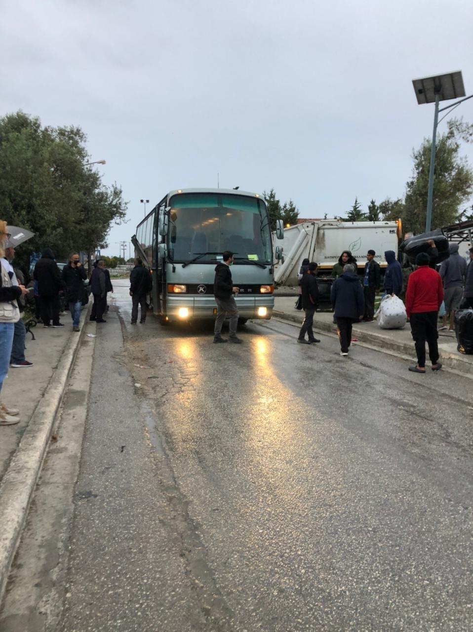 L'évacuation du camp de Kara Tepe 1, à Lesbos, a commencé samedi 24 avril. Crédit : DR
