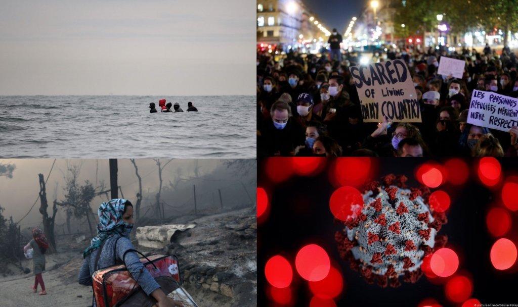 أحداث عدة برزت هذا العام منها جائحة كورونا وحريق مخيم موريا في ليسبوس اليونانية. المصدر:مهاجر نيوز