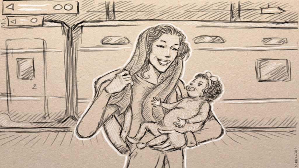 الأم الأفغانية ناهد برفقة طفلتها. رسومات: باتيست كوندوميناس