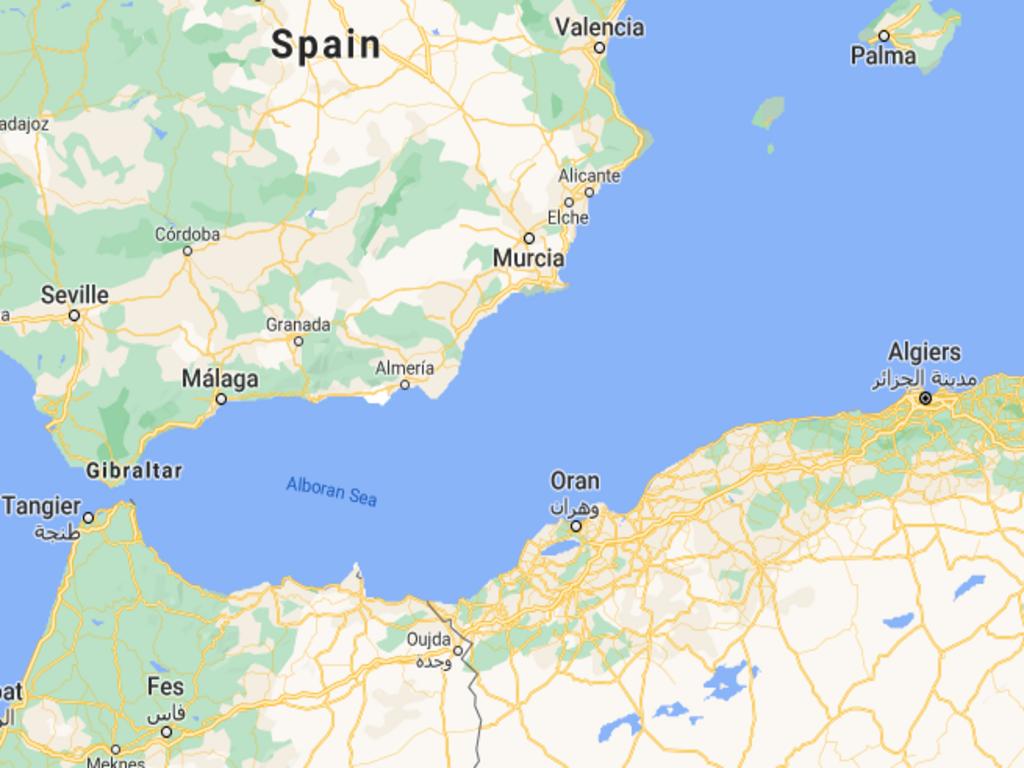 صورة توضيحية للطريق التي يسلكها المهاجرون من الجزائر إلى إسبانيا. المصدر: Google Maps