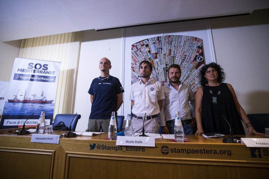In the picture, from left, Alessandro Porro, SOS Mediterranee rescuer, Nicola Stalla, coordinator of the rescue operations on board the Aquarius, Frederic Penard, director of operations SOS Mediterranee, Claudia Lodesani, president of Doctors without Borders Italia, during the press conference 'Aquarius goes back to sea' at the headquarters of the Foreign Press in Rome Photo/ANSA/Angelo Carconi