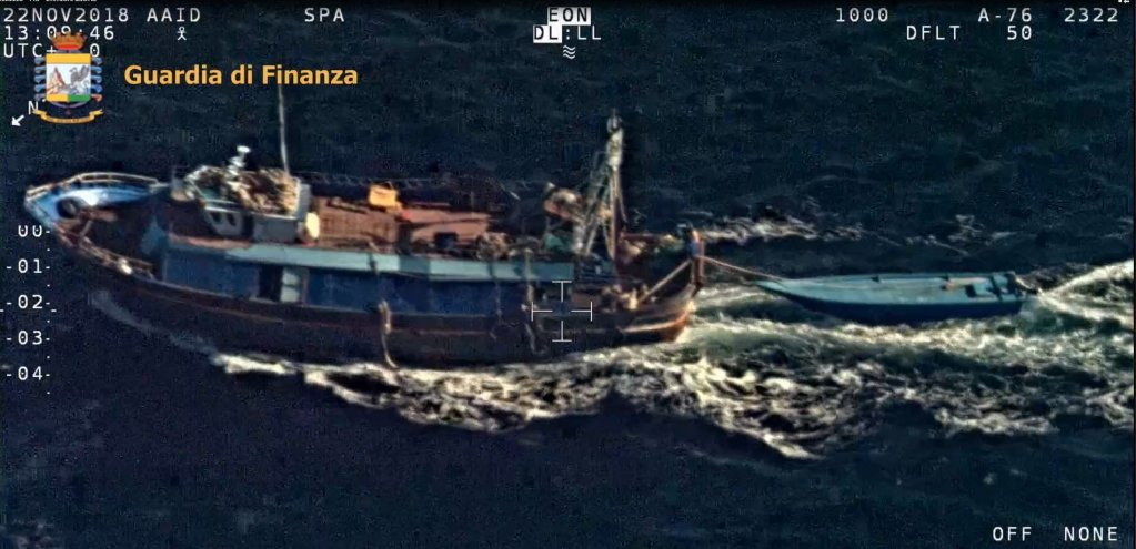 The 'mother' fishing boat, part of an alleged new technique employed by traffickers. CREDIT: GUARDIA DI FINANZA POLICE
