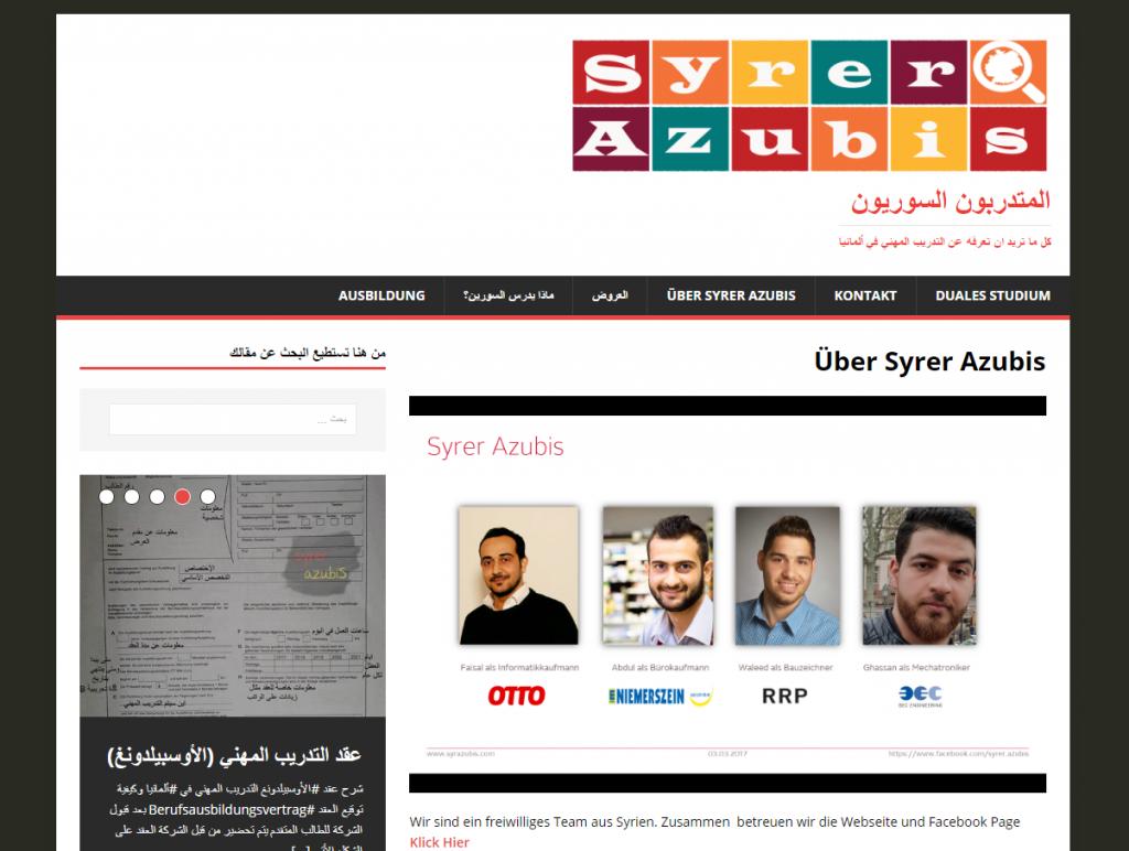 """""""Syrer Azubis"""" website"""