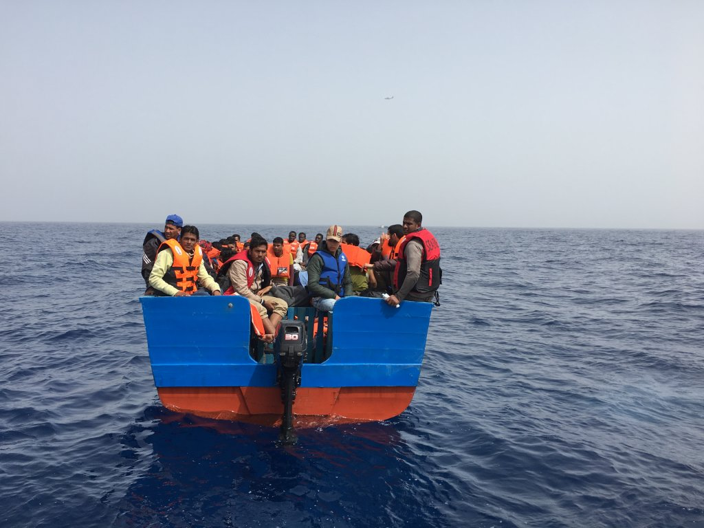 A group of North African migrants is rescued at sea | Credit: InfoMigrants