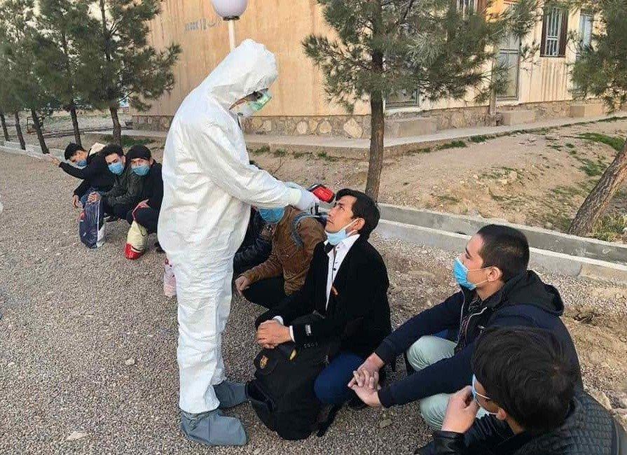 گروهی از مهاجران افغان که هنگام بازگشت از ایران در هرات مورد تست ویروس کرونا قرار میگیرند، اوایل مارچ ۲۰۲۰. عکس از پدرام قاضی زاده