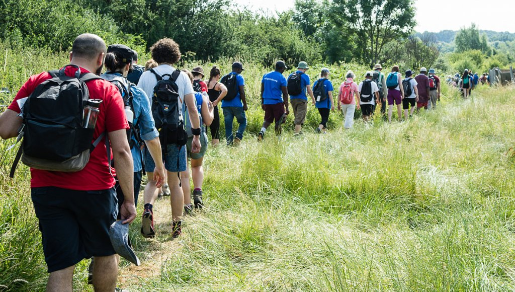 The Refugee Tales walk lasts 10 days and covers over 100km. Participants walk together and listen to the tales and talks at the stopping places along the way | Photo: Sarah Hickson