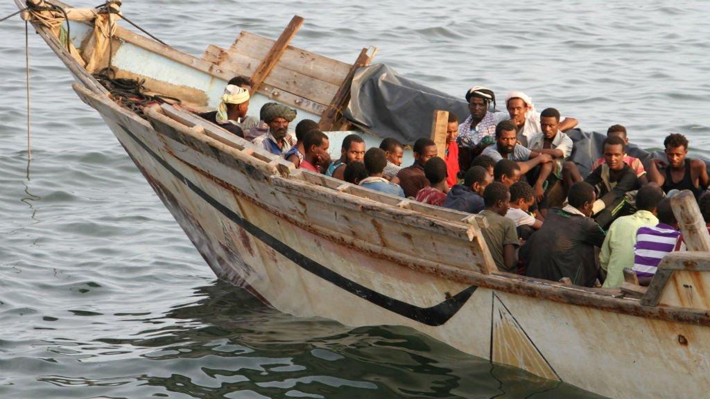 Saleh Al-Obeidi, AFP |Des migrants illégaux au large d'Aden, au Yémen, en septembre 2016.