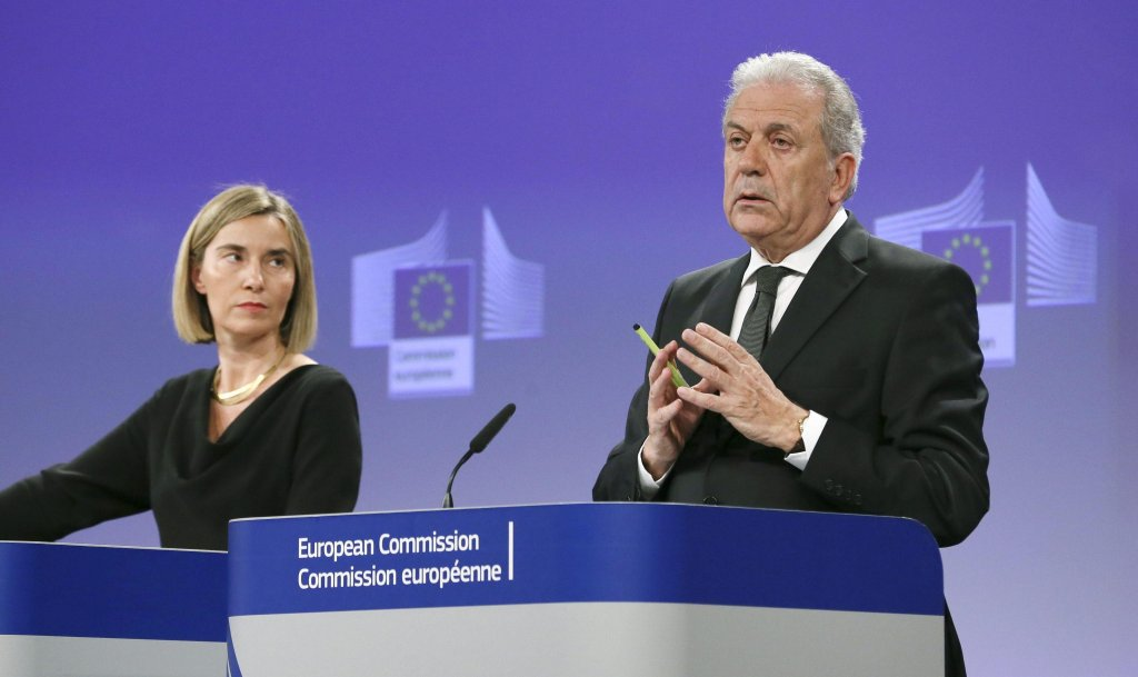 Federica Mogherini (L), High Representative of the European Union for Foreign Affairs, and Security Policy and EU Commissioner for Migration and Home Affairs Dimitris Avramopoulos (R) | Photo: EPA/OLIVIER HOSLET