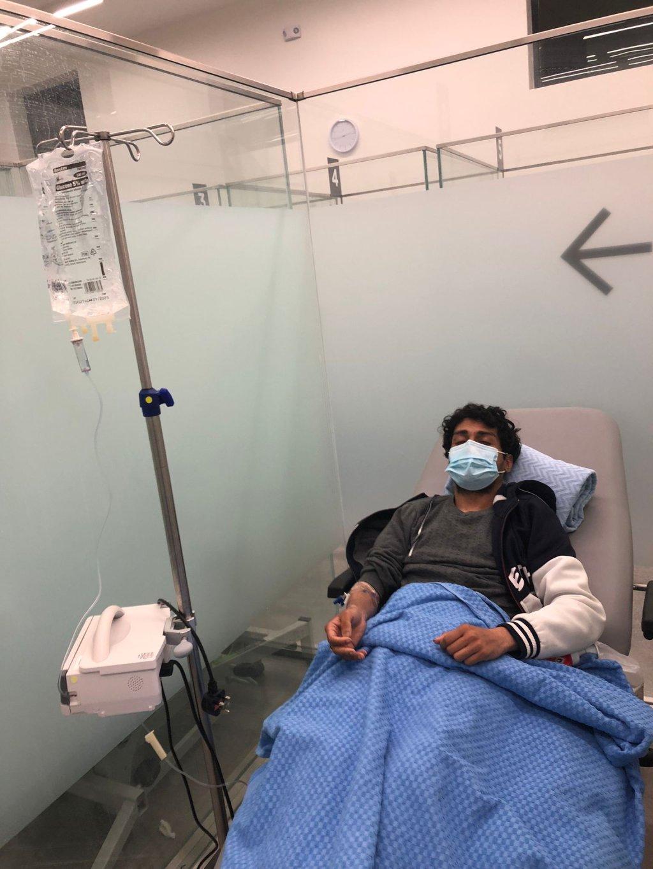Nadim Hussain on day nine of his hunger strike, Cork University Hospital, Ireland, October 22 2021 | Photo: Nadim Hussain.