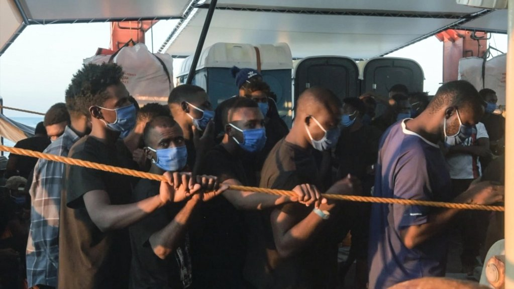 A photo made available from a video provided by the NGO 'Sea-Watch 4' shows rescued migrants headed to Palermo, Italy, on September 1, 2020 | HANDOUT (ANSA)