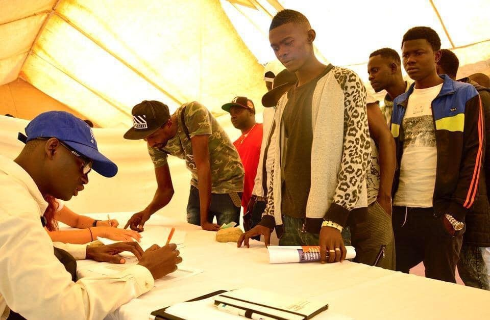 Returnees registering for job placement in The Gambia. Credit: IOM