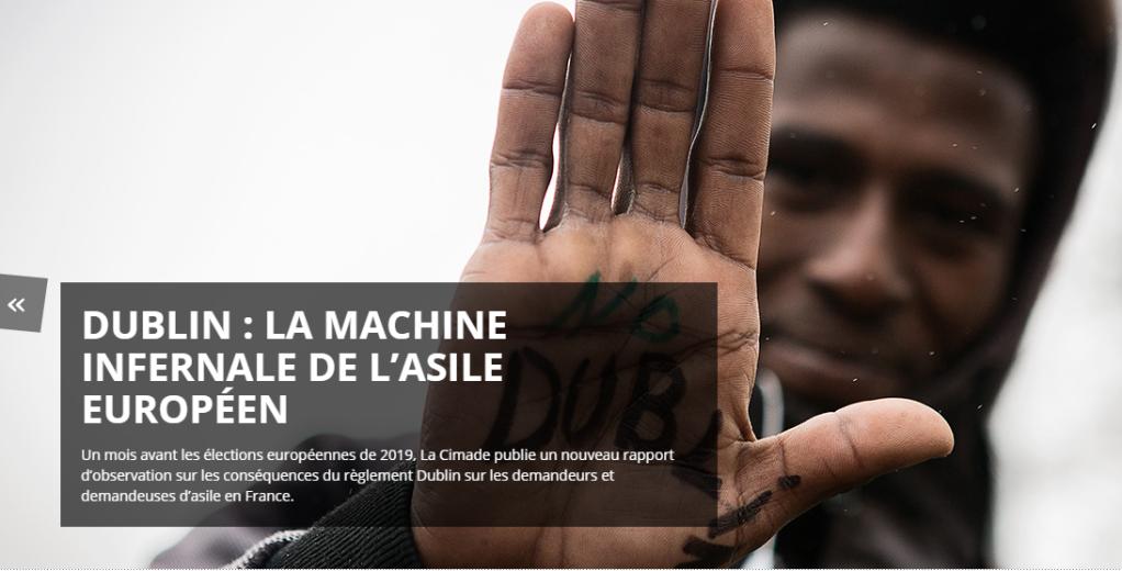 نماگرفت صفحه سیماد و تیتر گزارش این نهاد در مورد قانون دوبلین به زبان فرانسه.