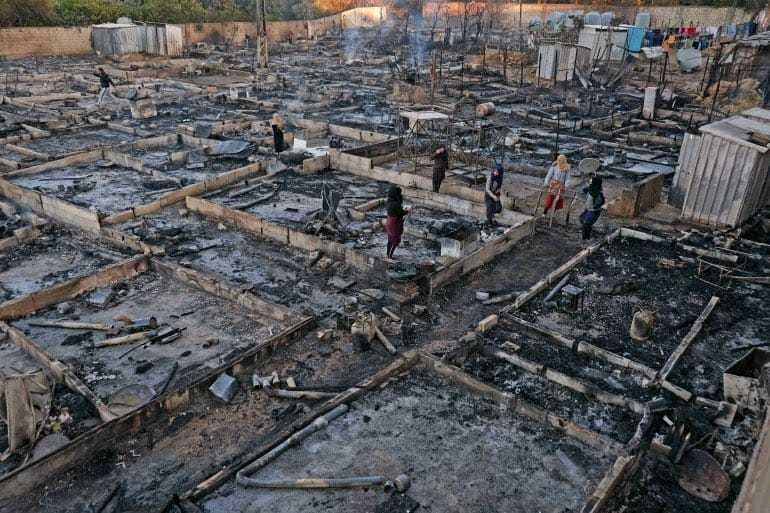 © Réseaux sociaux. |Le camp de Bhannine pour les réfugiés syriens, au lendemain de l'incendie criminel, réduit totalement en cendres.