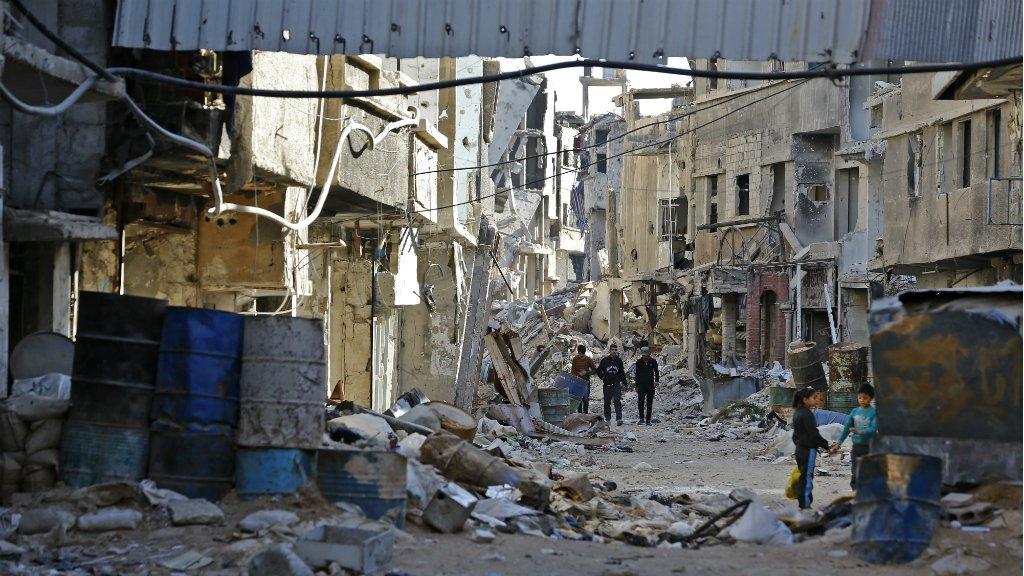 Louai Beshara, AFP |Une rue détruite dans le quartier de Tadamon, le 3 novembre 2018.