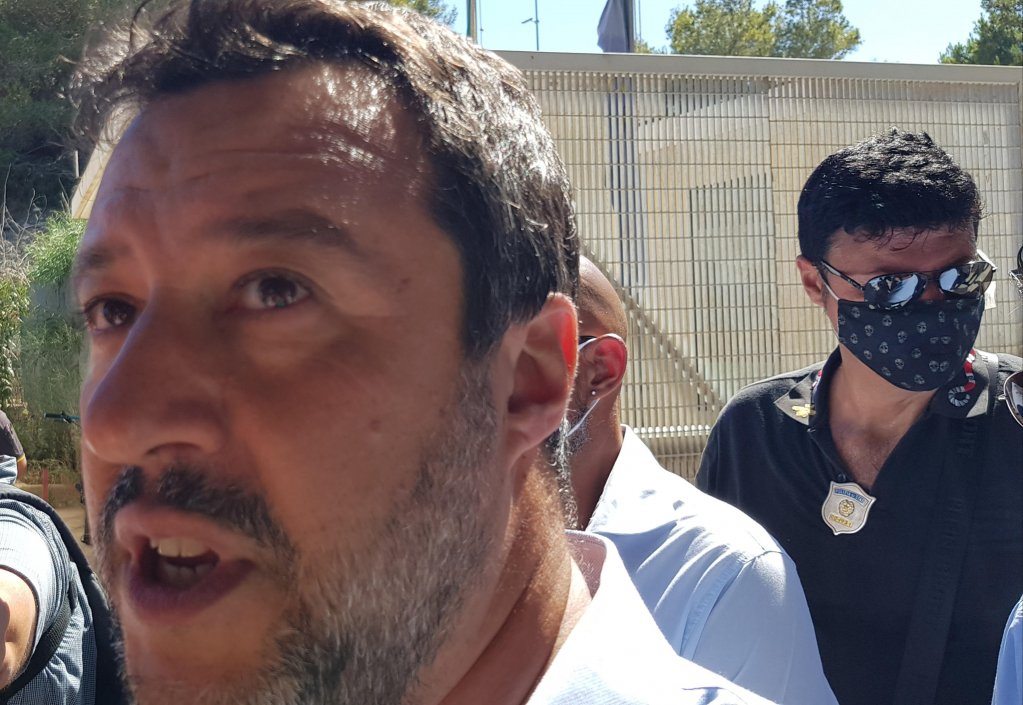League leader Matteo Salvini during a visit to the hotspot of Lampedusa on July 23, 2020 | PHOTO: ANSA/ ELIO DESIDERIO