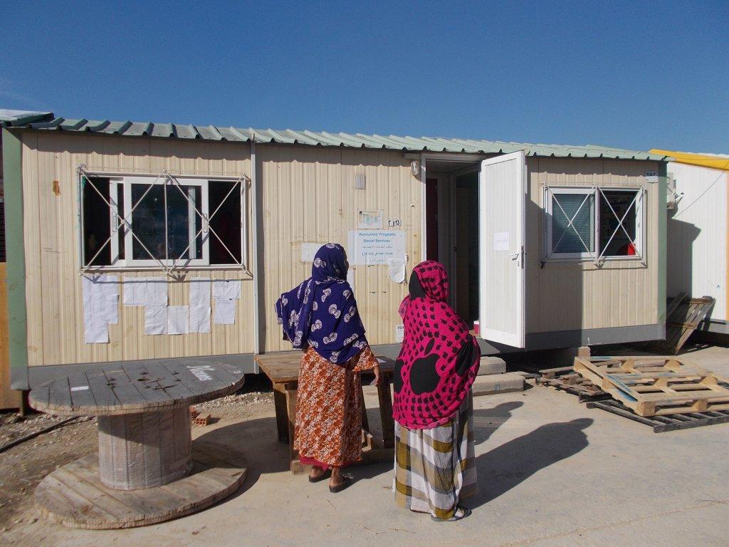 Migrant women living in Elaionas camp in Athens | Credit: Jannis Papadimitriou